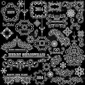 Weinlese-Feiertags-Design-Elemente - Stock Vektor-Clipart