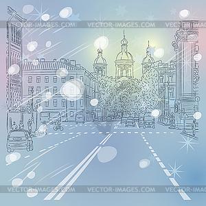 Stadtansicht, breite Allee mit Blick auf Kirche - Vektorgrafik