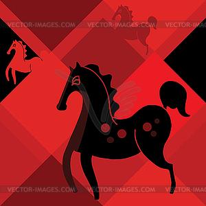 Schwarzes Pferd auf rotem Hintergrund Rhombus - farbige Vektorgrafik