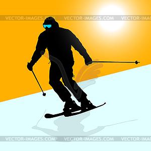 Berg Skifahrer Abhang hinunter zu beschleunigen. Sport Silhouette - Vektor-Skizze
