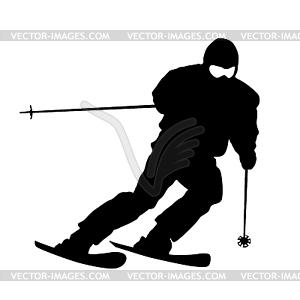 Berg Skifahrer Abhang hinunter zu beschleunigen. Sport Silhouette - Vektor-Clipart / Vektor-Bild