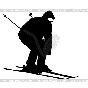 Berg Skifahrer Abhang hinunter zu beschleunigen. Sport Silhouette - Vector-Bild