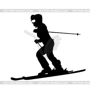 Berg Skifahrer Abhang hinunter zu beschleunigen. Sport Silhouette - Vektorgrafik