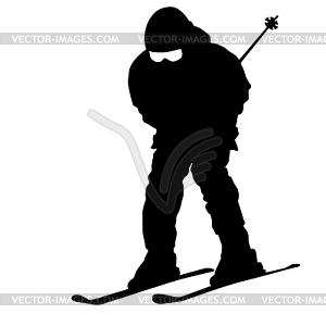 Berg Skifahrer Abhang hinunter zu beschleunigen. Sport Silhouette - Vector-Clipart EPS