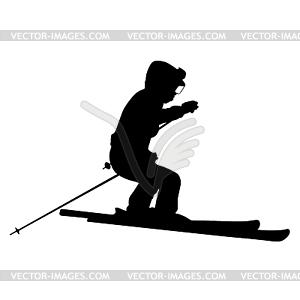 Berg Skifahrer Abhang hinunter zu beschleunigen. Sport Silhouette - Vektor-Illustration