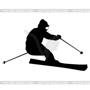Berg Skifahrer Abhang hinunter zu beschleunigen. Sport Silhouette - Vektorgrafik-Design