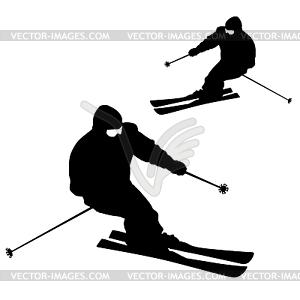 Berg Skifahrer Abhang hinunter zu beschleunigen. Sport Silhouette - vektorisiertes Clip-Art