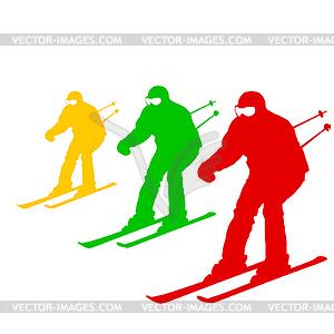 Berg Skifahrer Abhang hinunter zu beschleunigen. Sport Silhouette - vektorisiertes Design
