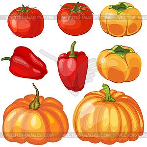 Set Thankgivings Day Gemüse Symbole - Vector-Illustration