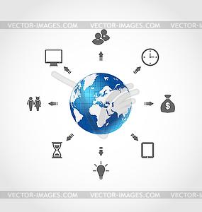 Globale Internet-Kommunikation, stellen Unternehmen - vektorisiertes Design