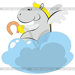 Geflügeltes Pferd auf Wolke 00 - Royalty-Free Clipart