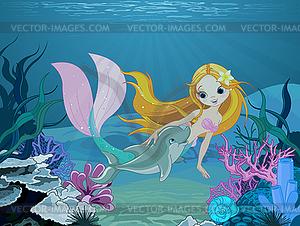 Meerjungfrau und Delphin Hintergrund - vektorisierte Grafik
