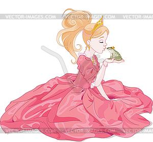 Prinzessin Küssen des Frosches - Vector-Clipart / Vektor-Bild