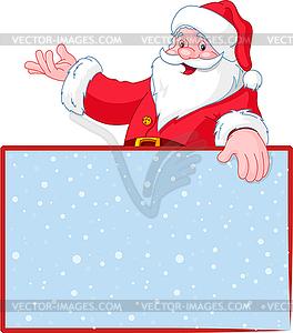 Weihnachtsmann über leere Grußkarte (Ort)-Karte - Vector-Illustration
