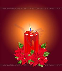 Weihnachtskerze mit Weihnachtssterne - Vektor-Clipart / Vektorgrafik