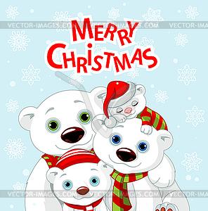 Weihnachten Bärenfamilie Grußkarte - Vektor-Clipart EPS