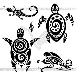 Turtle. Tribal Tattoo Set - Vektor-Clipart