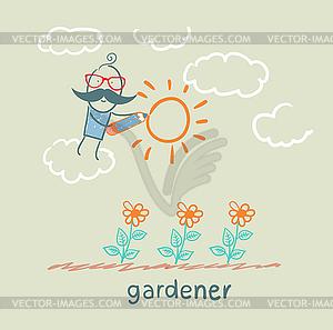 Gärtner zieht Sonne Blume - Vektor-Clipart / Vektorgrafik