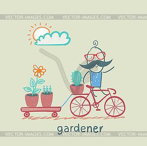 Gärtner führt Fahrrad Anlage - Vektor-Clipart / Vektorgrafik