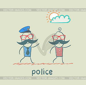 Police running after criminal - vector clipart