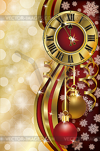 Neujahr Hintergrund mit Weihnachten Uhr, Vektor - Vektor Clip Art
