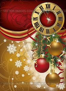 Neujahr Einladungskarte mit weihnachten Uhr, Vektor - Stock Vektor-Bild
