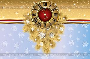 Neujahrskarten Banner mit weihnachten goldene Uhr, Vektor - Vektor-Clipart EPS