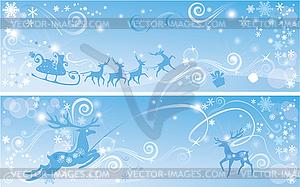 Satz von Weihnachten und Neujahr horizontale Banner - Vector-Clipart EPS