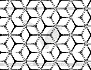 Grobe Zeichnung gestylt futuristischen hexagonalen Gitter - Vector-Illustration