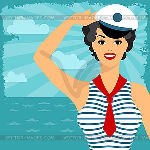 Karte mit schönen Pin up Seemannmädchen Stil der 1950er Jahre - Vektor Clip Art