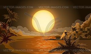Sonnenuntergang in Mikronesien - Vector-Clipart / Vektor-Bild