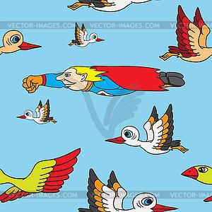Nahtlose Hintergrund. Vögel und Superman fliegen in - Vektor-Clipart / Vektorgrafik