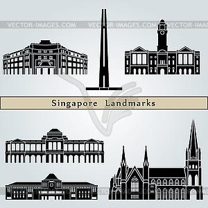 Singapur Sehenswürdigkeiten und Denkmäler - Vektor-Clipart / Vektorgrafik