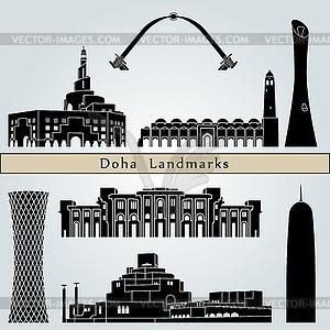 Doha Sehenswürdigkeiten und Denkmäler - Vektor-Clipart EPS
