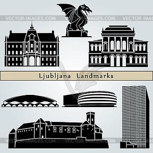 Ljubljana Sehenswürdigkeiten und Denkmäler - Stock Vektorgrafik