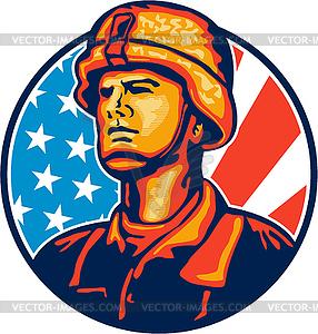 Amerikanische Soldat Serviceman Flag Retro - Clipart-Design