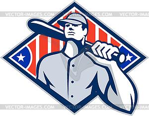 Baseball Batter Hitter Bat Schulter Retro - Royalty-Free Clipart