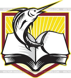 Blue Marlin Fisch Springen buchen Retro - Royalty-Free Clipart
