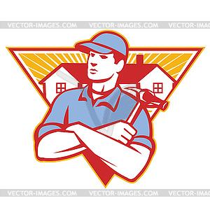 Builder Bauarbeiter Hammer House - Vector-Clipart / Vektor-Bild