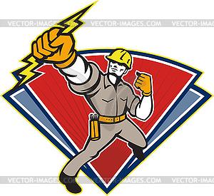 Elektriker Punching Lightning Bolt - Stock Vektor-Bild
