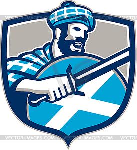 Highlander Scotsman Schwert Schild Retro - Vektor-Clipart / Vektor-Bild