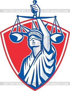 Freiheitsstatue Raising Justice Waagen - Stock Vektorgrafik