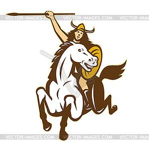 Valkyrie Amazon Krieger Horse Rider - vektorisierte Abbildung