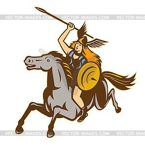 Valkyrie Amazon Krieger Horse Rider - vektorisiertes Bild