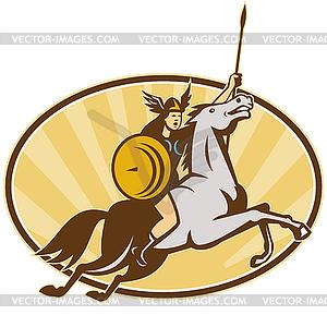 Valkyrie Amazon Krieger Horse Rider - Stock Vektor-Bild