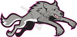 Gray Wolf Wild Dog Jumping Offensives - Vektor-Clipart / Vektorgrafik