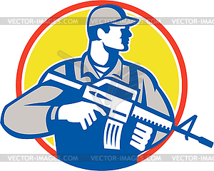 Soldat Militär Serviceman Assault Rifle Side Retro - vektorisiertes Clipart