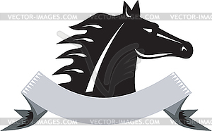 Wütend Pferdekopf Side Retro - Vector-Clipart