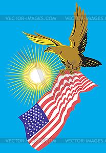 Amerikanischer Weißkopfseeadler Carry-Flag Retro - Vektor-Clipart / Vektorgrafik