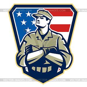 Amerikanischer Soldat Arme gefaltet Flag Retro - vektorisiertes Clipart